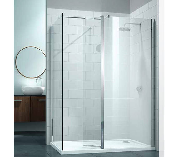 Merlyn 8 Series Walk In With Swivel Panel And End Panel 1200 x 800mm
