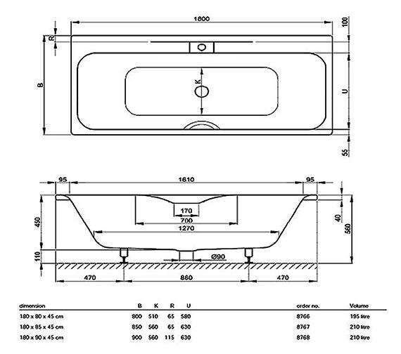 Technical drawing QS-V38435 / BETTE8767