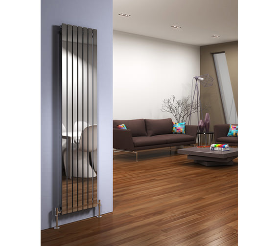 Additional image of DQ Heating Delta 230 x 1600mm Brushed Stainless Steel Vertical Radiator