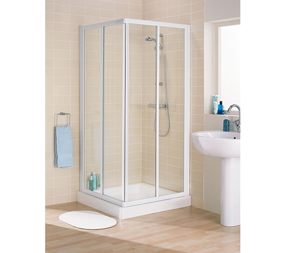 Lakes Classic Silver Frame Corner Entry Enclosure 750 x 1850mm - LK1C075S
