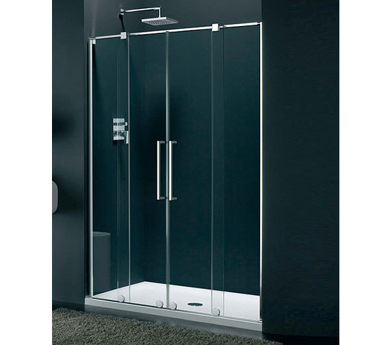 Lakes italia genzano frame less double sliding shower door for 1800mm high shower door