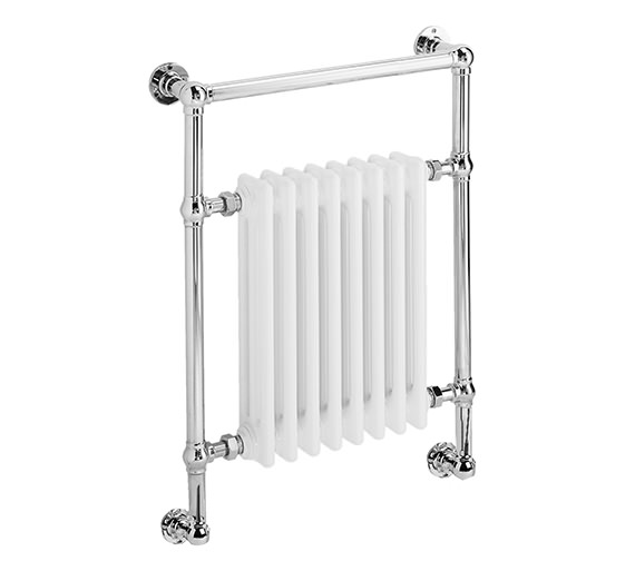 DQ Heating Lynford Wall Mounted Chrome Heated Towel Rail 694 x 798mm