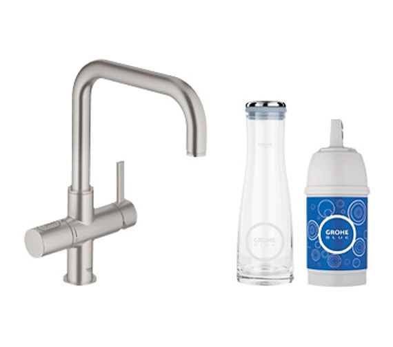 grohe blue pure monobloc supersteel sink mixer tap with filter. Black Bedroom Furniture Sets. Home Design Ideas