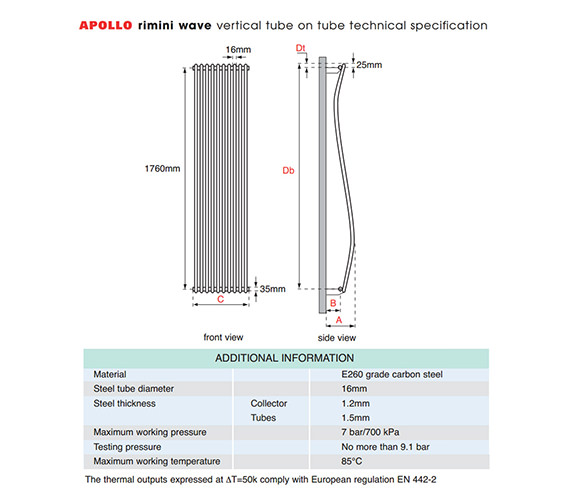 Apollo Rimini White Wave Tube-on-Tube Vertical Radiator 400 x 1800mm