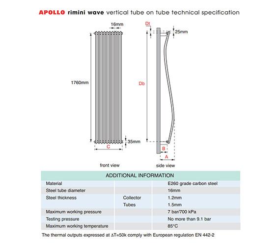 Apollo Rimini Wave Tube-on-Tube Vertical Radiator 300 x 1800mm