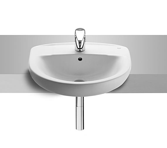 Roca Laura 510mm Wide Semi Recessed 1 Tap Hole Basin - 2 Tap Hole Optional