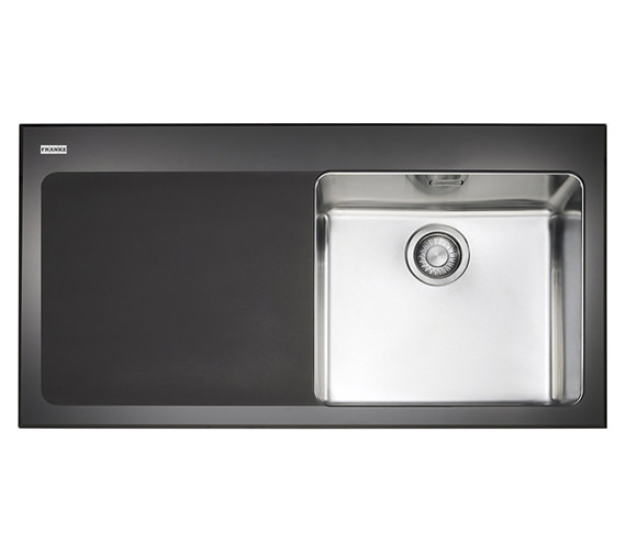 Franke Black Kitchen Sink: Franke Kubus KBV 611 Black Glass 1.0 Bowl Inset Kitchen Sink