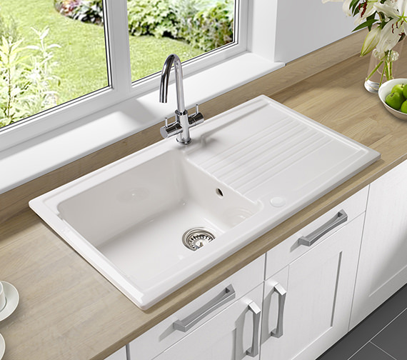 Additional image of Astracast Equinox 1.0 Bowl Ceramic White Inset Sink And Tap Pack