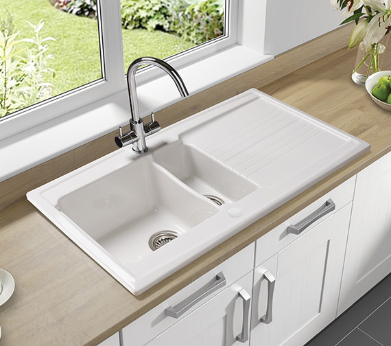 Additional image of Astracast Equinox 1.5 Bowl White Ceramic Inset Kitchen Sink