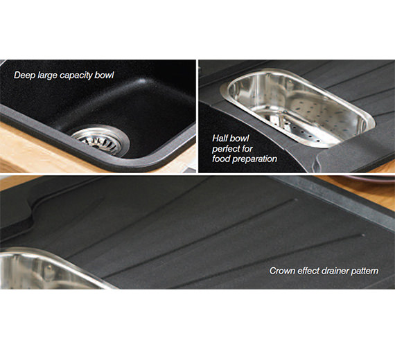 Additional image of Astracast Korona 1.5 Bowl Composite ROK Metallic Inset Sink And Tap Pack