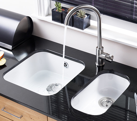 Additional image of Astracast Lincoln 2540 0.5 Bowl Ceramic Gloss White Undermount Sink
