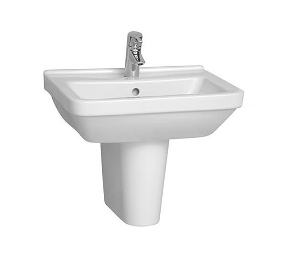 Vitra S50 Square Washbasin 65cm With Full Pedestal - 5311L003-0999