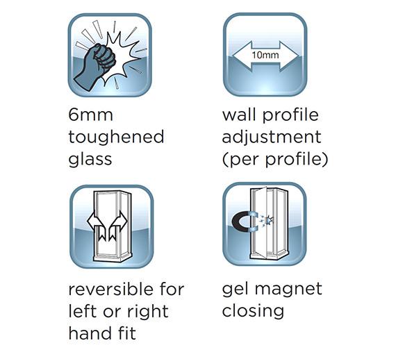 Alternate image of Aqualux Shine Bifold Shower Door 900mm Polished Silver - FEN0900AQU