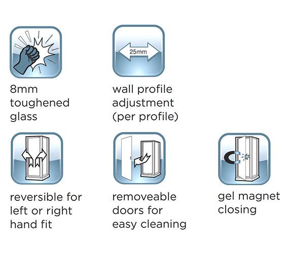 Alternate image of Aqualux Shine Sliding Shower Door 1700mm Polished Silver - FEN0921AQU