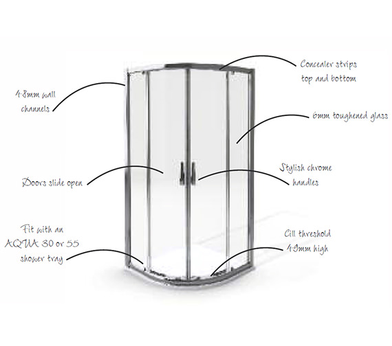 Aqua 6 Polished Silver Finish Quadrant Shower Enclosure