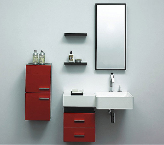 Lauren Murphy Red Designer Bathroom Furniture Vanity Unit Complete Image