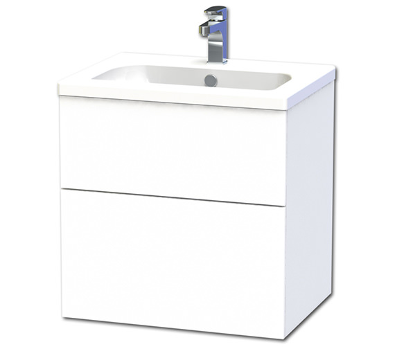 Miller New York 60 White Two Drawer Wall Hung Vanity Unit - 288-2