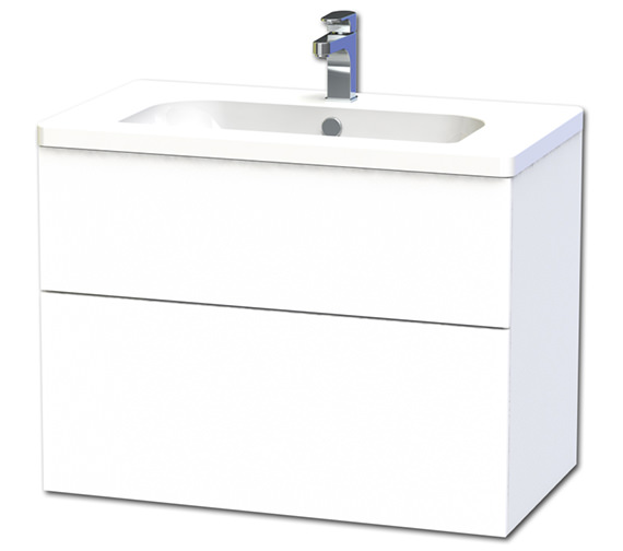 Miller New York 80 Two Drawer White Wall Hung Vanity Unit