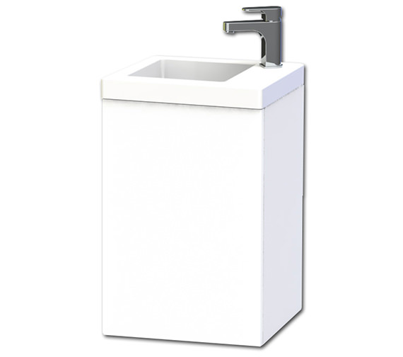 Miller New York 40 White Wall Hung Basin Vanity Unit With Door