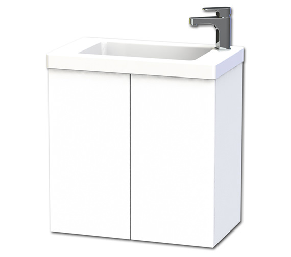 Miller New York 60 Double Door White Wall Hung Basin Vanity Unit