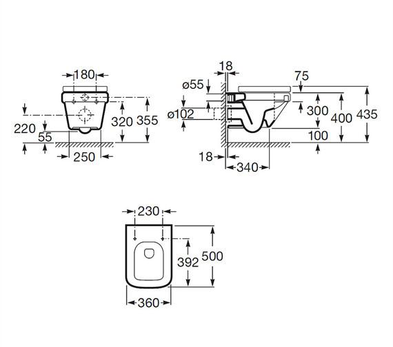 Roca Dama-N Compact Wall Hung WC Pan 500mm - 346788000