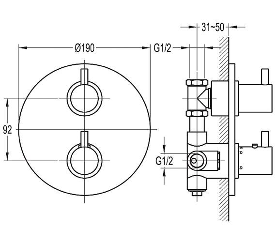 Technical drawing QS-V27171 / LVT222TRIM-RO