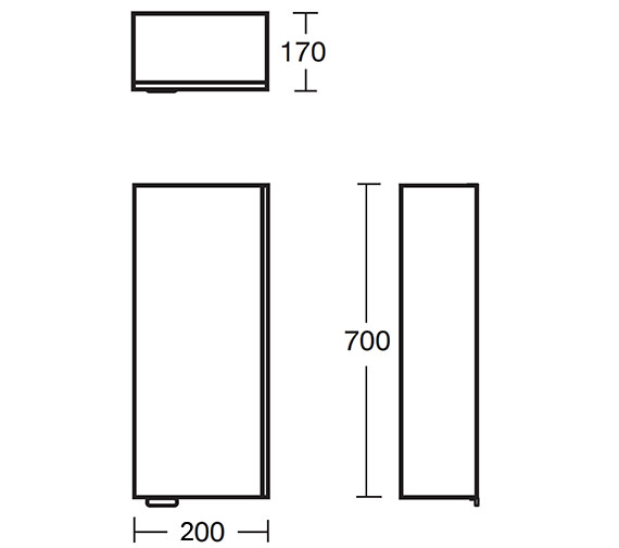 Ideal standard concept wall unit 200mm white e0435wg for 200mm kitchen wall unit