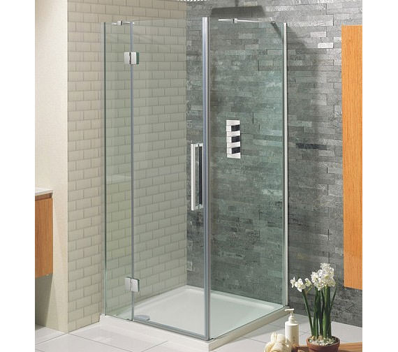 Simpsons Ten Frame-less Hinged Door With 2 Inline Panels 1400mm