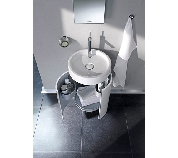Additional image of Duravit Starck Wall Mounted 450mm Circular Vanity Unit And 470mm Basin