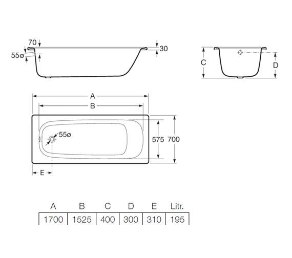 Additional image of Roca Contesa Rectangular Single Ended Steel Bath