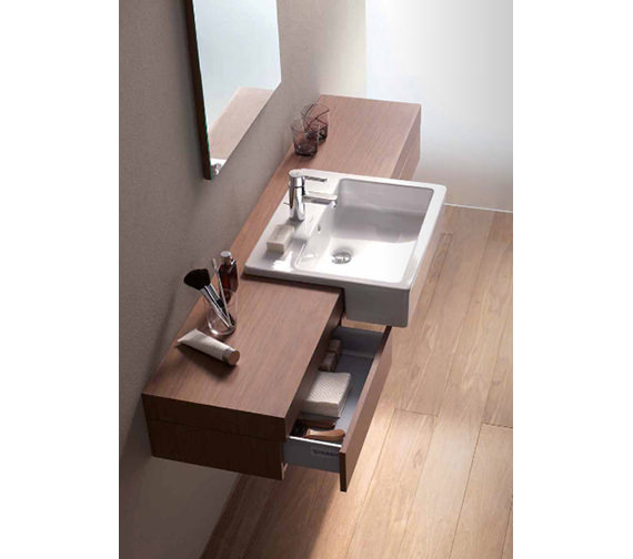 Fogo Console With Drawer For Semi Recessed Washbasin 1300mm - FO838002424 Image