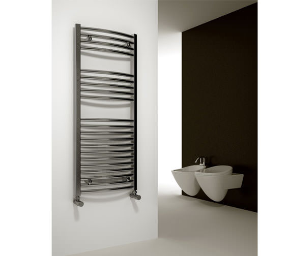 Alternate image of Reina Diva Curved Heated Towel Rail 600 x 1200mm Chrome
