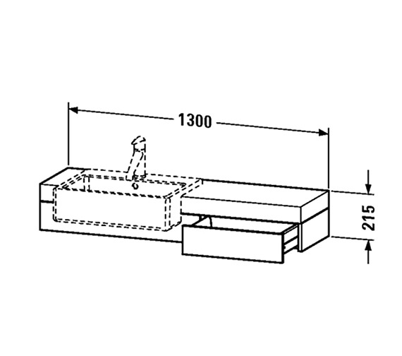 Image 2 of Fogo Console With Drawer For Semi Recessed Washbasin 1300mm - FO838002424
