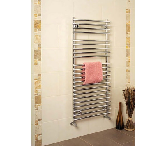 Apollo Pavia 600mm Wide Tube-on-Tube Chrome Towel Warmer