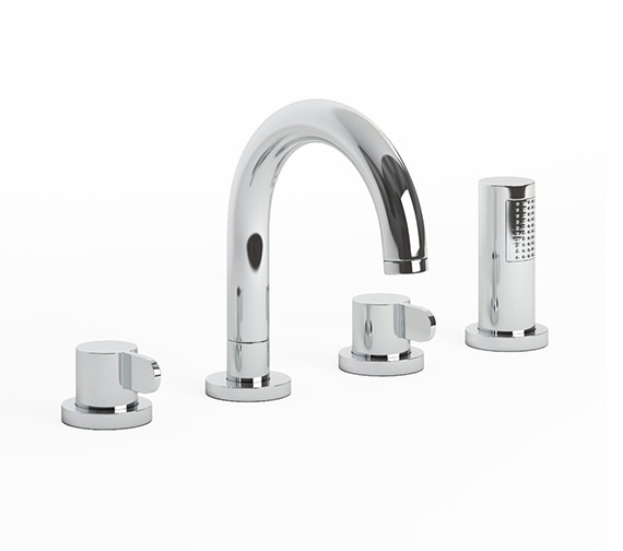 Abode Bliss Thermostatic Chrome Deck Mounted 4 Hole Bath Shower Mixer Tap