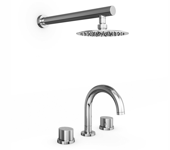 Abode Debut Thermostatic 3TH Bath Mixer Tap And Showerhead - AB3065