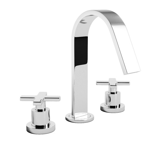 Abode Serenitie 3 Piece Deck Mounted Basin Mixer Tap - AB1069