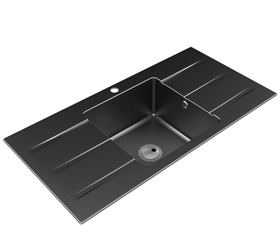 Abode Zero One Bowl Kitchen Sink With Double Drainer