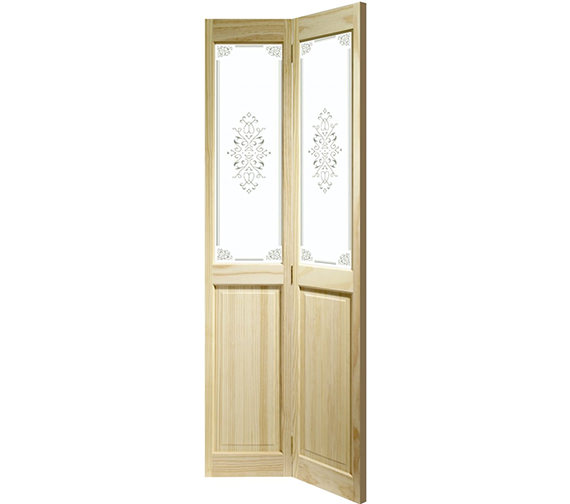 XL Internal Victorian Bi-Fold With Campion Glass Clear Pine Door