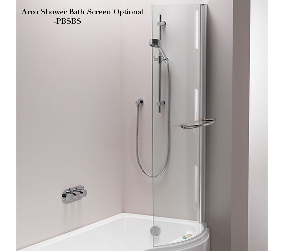 Additional image of Pura Arco Eco Left Hand 1500 x 850mm Shower Bath With Undrilled Overflow