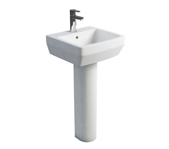 Britton Cube S20 500mm Washbasin With Round Full Pedestal