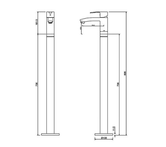 Technical drawing QS-V73890 / CTA14