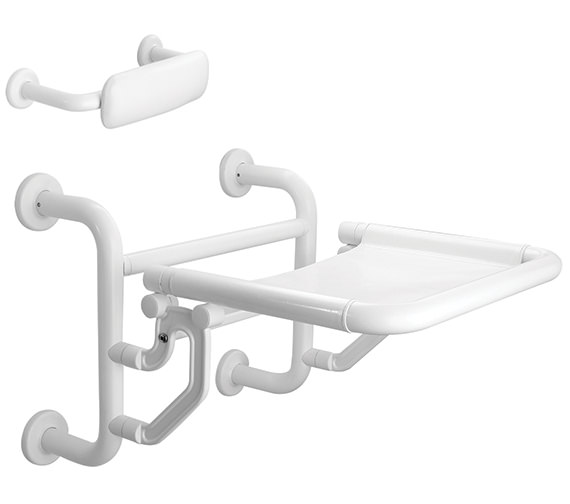 Twyford Avalon Folding Shower Seat With Back Support Doc.M Compliant White