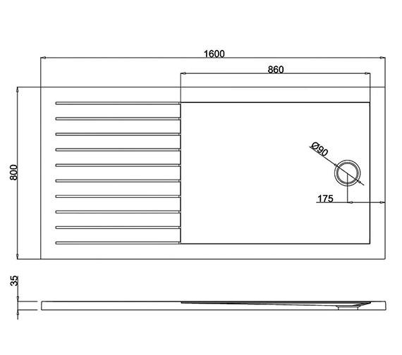 Additional image of Britton Zamori Walk In Rectangle Internal Designer Shower Tray - Z1186