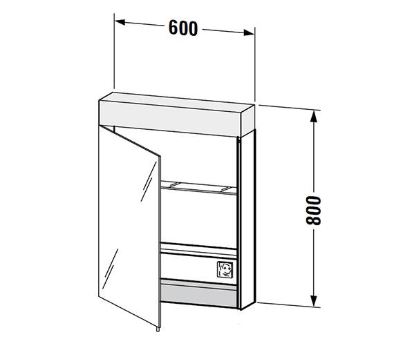 Duravit Vero 600 X 800mm Single Door Mirror Cabinet With