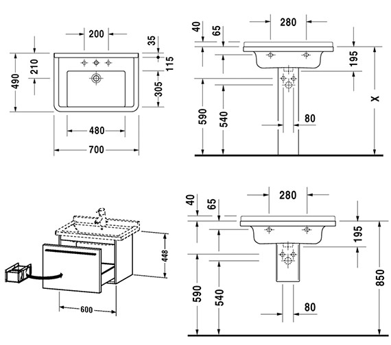 Technical drawing QS-V59001 / XL605601818