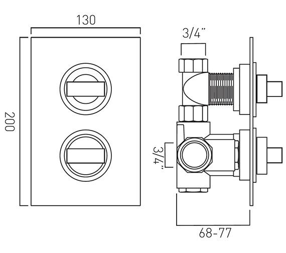 Technical drawing QS-V37063 / NOT-148C-3/4-C/P