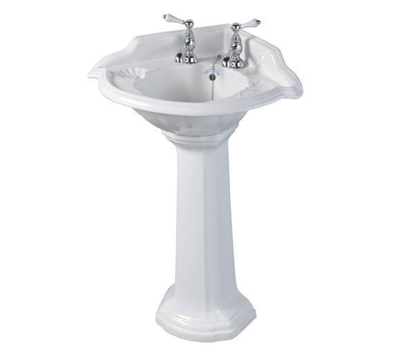Imperial Oxford 2 Tap Holes 615mm Corner Basin With Full Pedestal