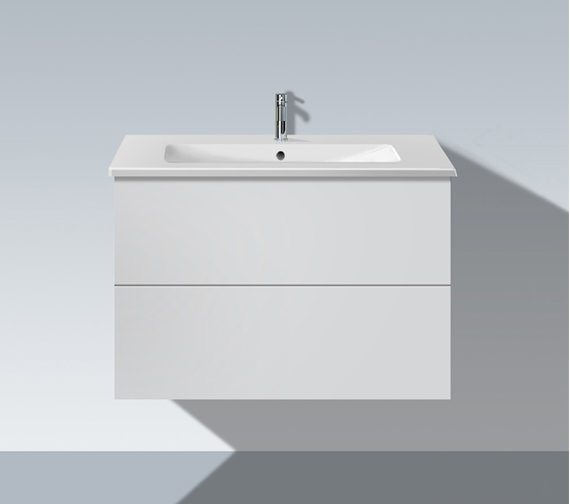 duravit l cube 820mm 2 drawers vanity unit with me by starck basin