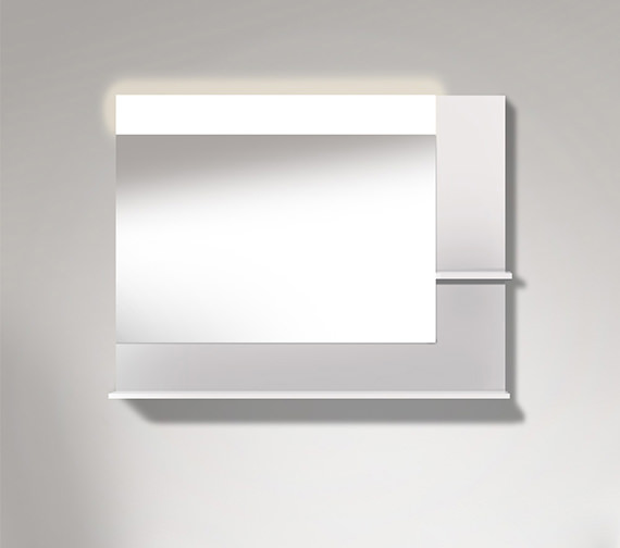 Duravit Vero 1000mm Mirror With Light And Shelves to Right Side And Below